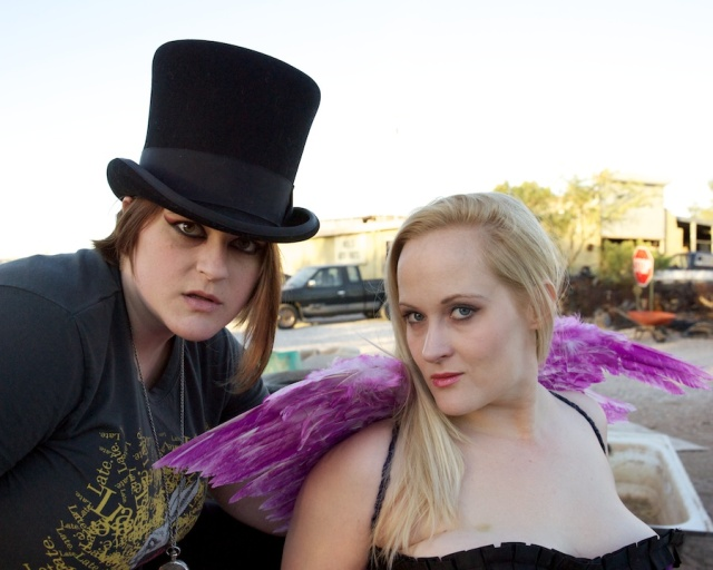 Galen Woida and Amanda Stair at a costumed junk yard shoot with Arizona Photo Events.